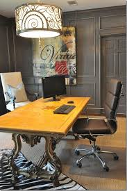 yellow office decor. Office:Fabulous Luxury Home Office Decor With Yellow Top And Carving Wood Table Plus O