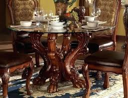 garage pretty carved wooden dining table formal wood round glass top vintage round glass dining table
