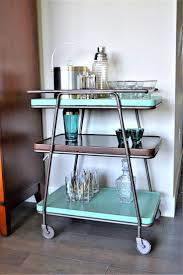 Mid Century Modern Bar Cart | 3 Tiered Metal Cart | Retro Kitchen Island |  Rolling Bar Cart | Bar Cart with Removable Trays | Bar Cart