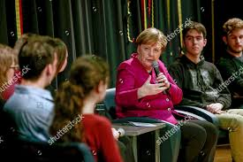 German Chancellor Angela Merkel meets young people Editorial Stock Photo -  Stock Image