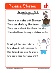 If children are to read and write easily, they need the code; Shawn Is On A Ship Sh Phonics Stories Reading Comprehension Worksheet Have Fun Teaching
