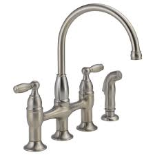 LF SS Two Handle Bridge Kitchen Faucet with Spray