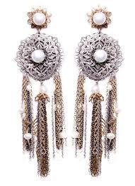 silver oversized chandelier earrings with pearl detail 123216