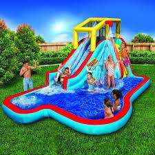backyard pool with slides. Banzai Splash Blast Lagoon Inflatable Outdoor Water Slide Backyard Pool With Slides O