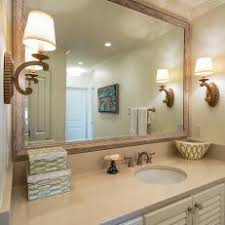 wood framed bathroom mirrors. Coastal Master Bathroom With Wood Framed Mirror Mirrors