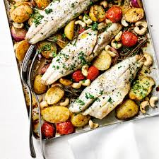 baked sea b with new potatoes