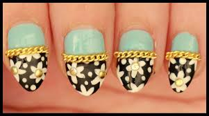 Flowers with Gold Studs & Chains nail art - YouTube