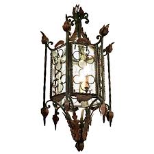 wrought iron lantern large style with gilt accents pendant lights