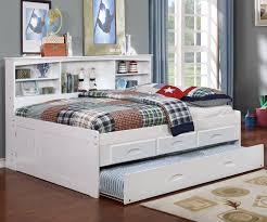 Kids Furniture White Full Size Bookcase Captain\u0027s Day Bed with ...