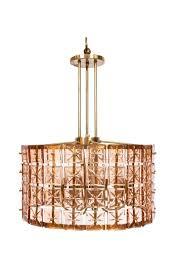 mid century modern pink cut glass drum chandelier