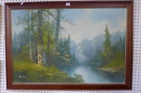 lot 9 a large oil of deer in a forest clearing by r danford