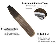<b>Moresoo</b> 14 24 Inch <b>Tape</b> In Human Hair Extensions Balayage ...