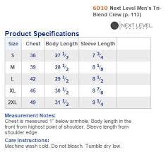 Next Level 6010 Size Chart
