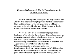 discuss shakespeare s use of foreshadowing in romeo and juliet  document image preview