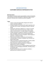 Customer Service Representative Job Description Template Word