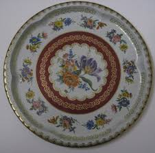 Daher Decorated Ware Tray Made In England Vintage Daher Decorated Ware Round Tin 6060 Floral Serving Tray 16