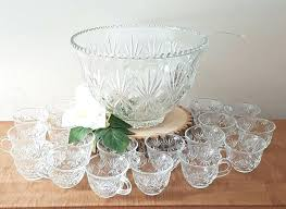 glass punch bowl set vintage for heritage thumbprint by punch bowl set
