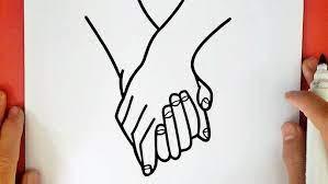 Dessin de deux mains couple avec leger trait rouge / pastel à l'huile : Comment Dessiner Des Mains Entrelacees Tumblr Youtube