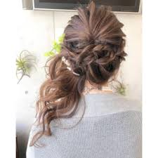 編み込みサイドアップヘアアレンジ結婚式 Emu International 春日部