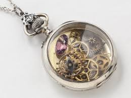 steampunk necklace sterling silver pocket watch movement case gears bird charm amethyst pendant locket necklace jewelry