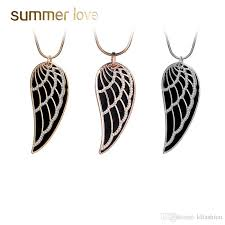 whole 2018 new gold color crystal feather angel wing pendant necklace double layer long sweater chain statement jewelry collares for women gifts