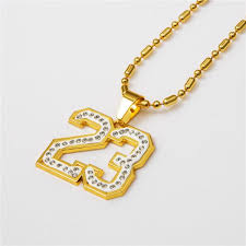 18k gold plated hip hop necklaces star number 23 pendants necklace for men