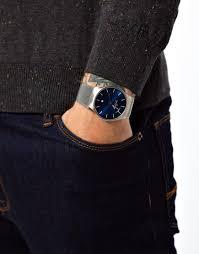 skagen watch 956xlttn quartz titanium blue dial in metallic for gallery