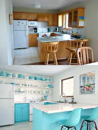 before and after budget friendly aqua kitchen makeover
