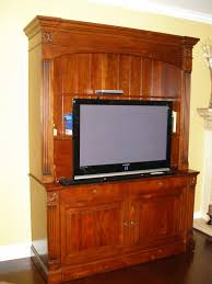 Flat Screen Tv Console Furniture Brown Wooden Media Cabinet With Tv Stand Plus Shelf And