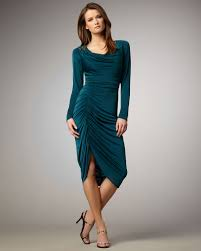 David Meister Womens Longsleeve Ruched Dress In Blue Lyst