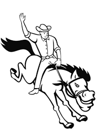 Small Picture Rodeo Cowboy Riding Bucking Bronco coloring page Free Printable