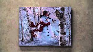 Led Lighted Canvas Painting Snowman Led Lighted Canvas Wall Art