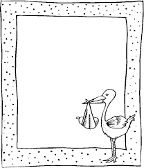 black and white frame with stork and baby