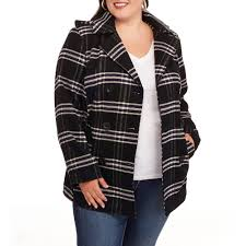 women s plus size double ted faux wool peacoat with hood com
