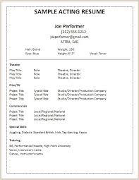 Resume Template Sample Acting Resume Free Career Resume Template