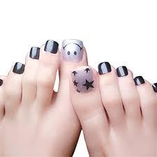 24pcs Cute Fake Toenails For Women And Girls Artificial False Toe Nails Art Tips Short Designs Black