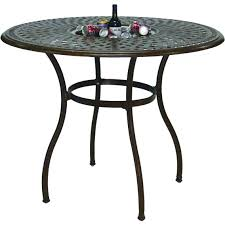 darlee series 60 52 inch cast aluminum counter height patio bar table with ice bucket insert mocha ultimate patio