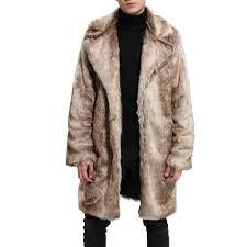 new men faux fur coat grant long sleeve oversized collar winter coat