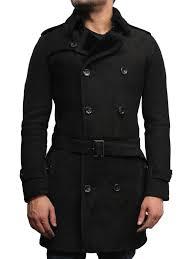 men s luxury spanish merino fur sheepskin belted pea coat german navy long duffle coat ideal for winter latest design