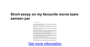 short essay on my favourite movie taare zameen par google docs