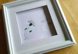stained sea glass flower art pebble frames deco picture