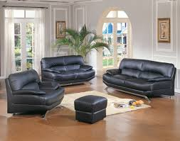 Living Room  Contemporary Black Leather Sofa  Seater With - High quality living room furniture