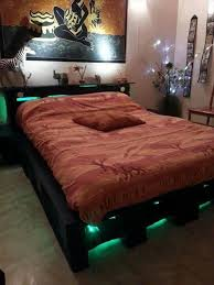 cool pallet bed with lights underneath