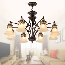 8 light black wrought iron chandelier with glass shades dk 1001 8x