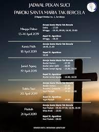 Hari minggu, 17 januari 2021. Jadwal Misa Khusus Gereja Katolik Santa Maria Tak Bercela