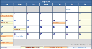 Calendar Format 2015 May 2015 Canada Calendar With Holidays For Printing Image