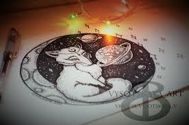 сообщество иллюстраторов иллюстрация лиса космос дотворк эскиз тату