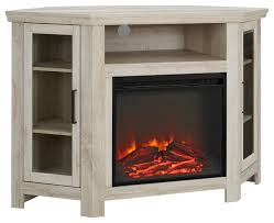 48 wood corner fireplace a tv stand console white oak farmhouse entertainment