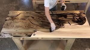 applying rubio monocoat finish to hardwood ash desktop