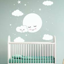 moon stars clouds wall decal nursery